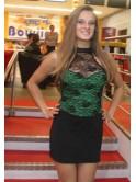 Robe courte sexy, style corset, Sandy, verte et noire