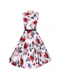 Robe vintage, rockabilly, pin-up, motifs bleu et rouge