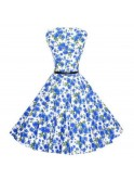 Robe vintage, rockabilly, pin-up, motifs bleus