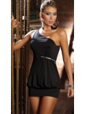 Robe courte asymétrique noire