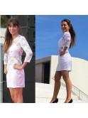 Robe courte, bi-matière, blanche