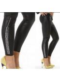 Legging façon cuir cloutés noir