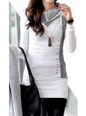 Robe pull blanche et grise
