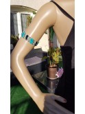 Sautoir, collier, bracelet en hématite aimantée, perles turquoises