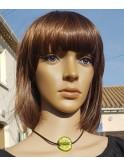 Collier perle fantaisie sur cordon de velours, vert