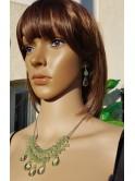 Parure collier et boucles d'oreille, vert
