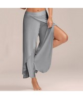 Pantalon large ouvert gris