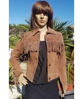 Veste blouson en cuir brun western à franges