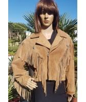 Veste blouson en cuir camel western à franges