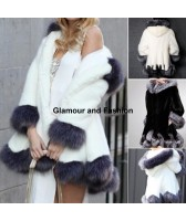Manteau blanc et gris avec capuche, fausse fourrure