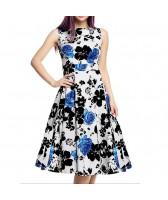 Robe vintage, rockabilly, pin-up, motifs fleurs noires et bleues