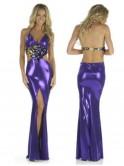 Robe longue de soirée, vinyle, violette