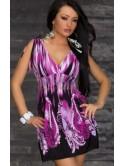 Robe courte imprimée tons violet et noir, Steffy