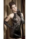 Robe courte sexy, bi-matière, dentelle et vinyle, noire, Sidney